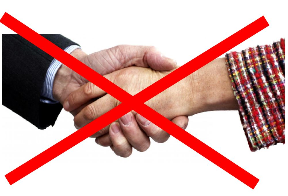 handen schudden met je klant gaf vertrouwen maar mag niet